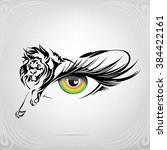 silhouette of lion on an eye | Shutterstock .eps vector #384422161