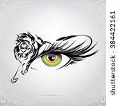 silhouette of lion on an eye   Shutterstock .eps vector #384422161