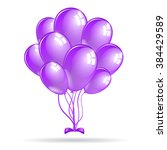 set of shiny purple balloons.... | Shutterstock .eps vector #384429589