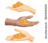 three hands with corn grains in ... | Shutterstock .eps vector #384440404