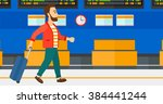 man walking with suitcase. | Shutterstock .eps vector #384441244