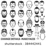 men head and face constructor.... | Shutterstock .eps vector #384442441