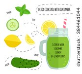 recipe detox cocktail with... | Shutterstock .eps vector #384461044