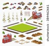 timber isometric infographic... | Shutterstock .eps vector #384462661