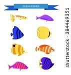 fish set. aquarium fishes set... | Shutterstock .eps vector #384469351