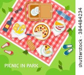 picnic in park with a basket ... | Shutterstock .eps vector #384484234