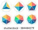 Triangle, square, pentagon, hexagon, heptagon, octagon for infographics with circular arrows.  | Shutterstock vector #384484279