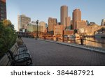Stock photo early morning view of boston skyline from the harborwalk 384487921