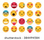 set of cute emoticons isolated... | Shutterstock .eps vector #384494584