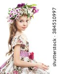 Sweet Little  Girl With  Floral ...