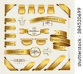 elegant golden ribbon label... | Shutterstock .eps vector #384520699