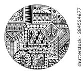 ethnic tribal pattern in circle.... | Shutterstock .eps vector #384524677