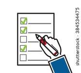 line flat design  hand filling... | Shutterstock .eps vector #384534475