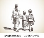 sketch of three sisters... | Shutterstock .eps vector #384548941