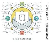 flat line e mail marketing... | Shutterstock .eps vector #384554374