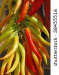 mass of hot peppers prepared... | Shutterstock . vector #38455516