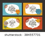 set of cute animal cards with... | Shutterstock .eps vector #384557731