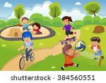 happy kids playing in the... | Shutterstock .eps vector #384560551