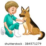 vet examining dog with... | Shutterstock .eps vector #384571279