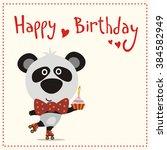 happy birthday  cute panda bear ... | Shutterstock .eps vector #384582949