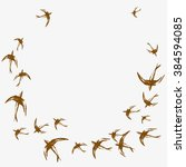card with flock of swallows.... | Shutterstock .eps vector #384594085