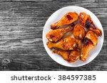 grilled chicken sticky... | Shutterstock . vector #384597385