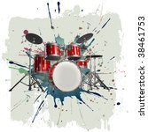 drum kit on grunge background | Shutterstock . vector #38461753