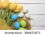 easter background with colorful ... | Shutterstock . vector #384621871