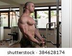 muscular man doing heavy weight ... | Shutterstock . vector #384628174