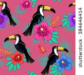 tropical flowers and toucan... | Shutterstock .eps vector #384646414