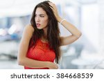 portrait of attractive brunette ... | Shutterstock . vector #384668539