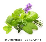 fresh spices and herbs isolated ... | Shutterstock . vector #384672445