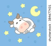 cartoon cute cow with stars... | Shutterstock .eps vector #384677431