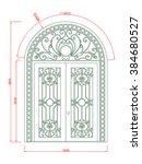 door vector vintage  frame line ... | Shutterstock .eps vector #384680527