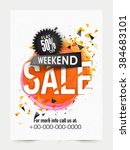 weekend 50  sale banner  sale... | Shutterstock .eps vector #384683101