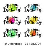 happy birthday  set of hand...