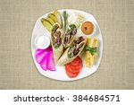 beef shawarma on plate   top...