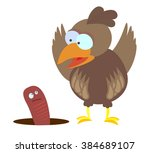 cartoon sparrow and worm | Shutterstock . vector #384689107