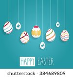 Easter Poster. Hanging Eggs On...