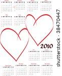 2010 calendar with blank hearts ... | Shutterstock .eps vector #38470447