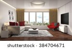 interior with sofa. 3d... | Shutterstock . vector #384704671