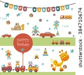 set of toys. there are a... | Shutterstock .eps vector #384710674