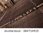 look left sign on a london... | Shutterstock . vector #384714925