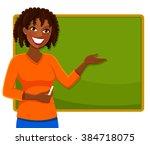 happy teacher of african...   Shutterstock .eps vector #384718075