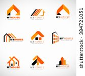 orange and black house logo set ... | Shutterstock .eps vector #384721051