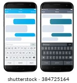smartphone chatting sms app...   Shutterstock .eps vector #384725164