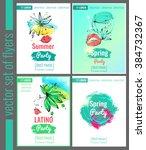 set of bright vector leaflets.... | Shutterstock .eps vector #384732367