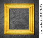 gold frame on black slate... | Shutterstock . vector #384738529