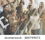 business people team applauding ... | Shutterstock . vector #384749071