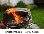 flaming barbecue | Shutterstock . vector #38475808